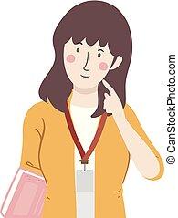 Girl Teacher Thinking Illustration