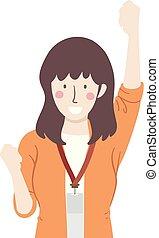 Girl Teacher Yes Pose Illustration