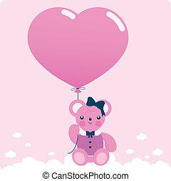 Girl teddy bear and balloon