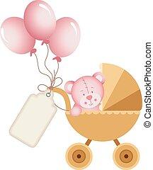 Girl teddy bear in baby carriage