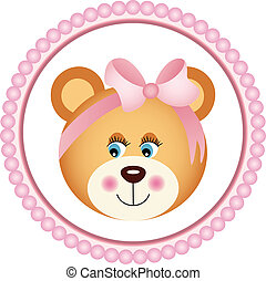 Girl Teddy Bear Sticker - Scalable vectorial image...