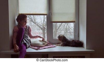 girl teen and dog sitting on a window sill pet windowsill -...