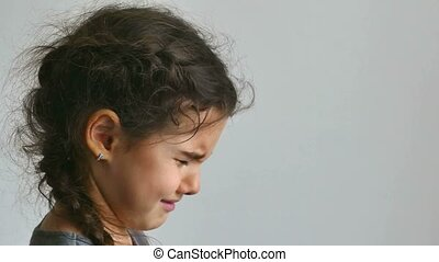 girl teen crying tears flow depression - girl teen crying...