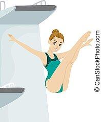 Girl Teen Diving