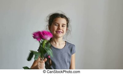 girl teen gives flowers roses happy - girl teen gives...