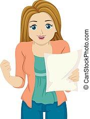 Girl Teen Result Paper Happy