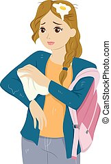 Girl Teen School Bullied - Illustration of a Girl Wiping off...