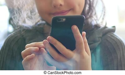 Girl teenager smartphone phone online game website the surfing