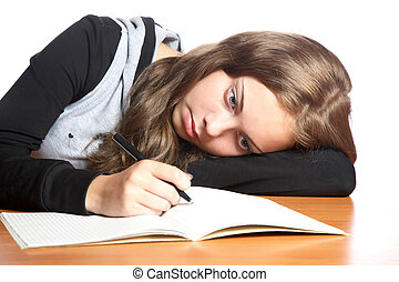girl-teenager, writing-book, regarde