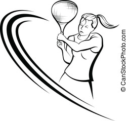 Girl Tennis Design - Vector illustration of a woman tennis...