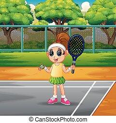 girl, tennis, jouer, cours, heureux