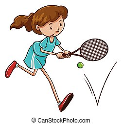 girl, tennis, jouer
