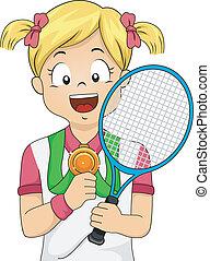 girl, tennis, médaille