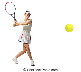 Girl tennis player isolated (with ball ver) - Young girl...
