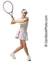 Girl tennis player isolated (without ball ver) - Young girl...