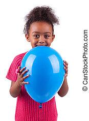 girl, tenue, bleu, américain, jeune, mignon, africaine, balloon