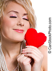 girl, tenue, coeur, rouges, grand, beau, blond