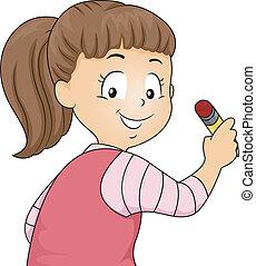 girl, tenue, litle, vue, dos, crayon, gosse