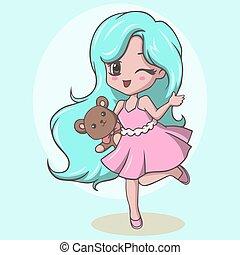 girl, tenue, ours, mignon, peu, cligner, teddy