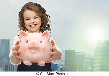 girl, tenue, porcin, heureux, banque