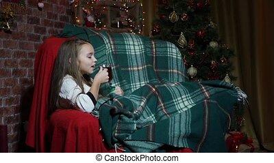 girl, thé, arbre, noël, boire, amusement, chaise, avoir