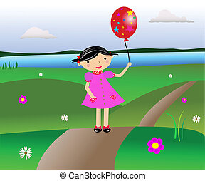 Girl - The cheerful girl goes on a path on a field