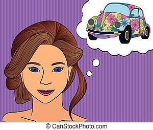 Girl think with speech bubble car