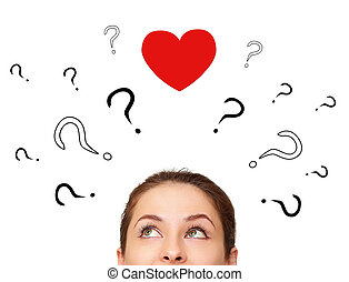 Girl thinking about love with many questions and heart above...