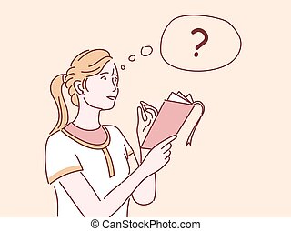 Girl thinking flat vector illustration. Female student doing list, taking notes, solving task isolated cartoon character with outline. Thoughtful woman asking, holding notebook and pencil