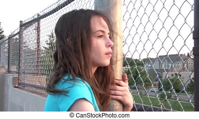 Girl Thinking - Pan to Sunset
