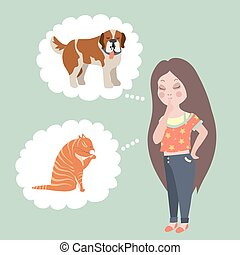 Girl thinking whom to choose. Cat or dog. Vector flat illustration