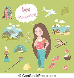 Girl thinks where to travel, mountains or sea