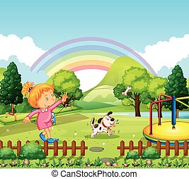 Girl throwing bone for dog in the park illustration