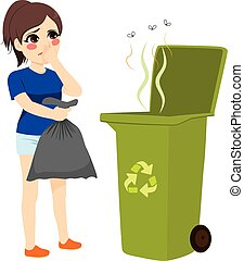 Girl Throwing Stinky Trash - Woman holding stinky trash bag ...