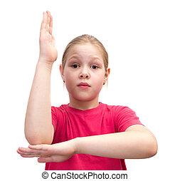 girl, tient, haut, main