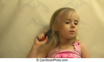 Girl Toddler Child Hair Dresses herself with a Hair Comb and Brush