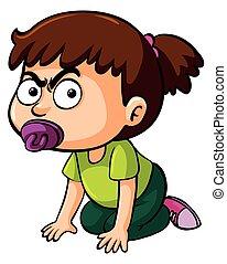 Girl toddler crawling on white background illustration