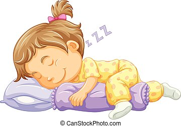 Girl toddler sleeping on blue pillow