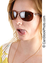 girl, tongue., spectacles