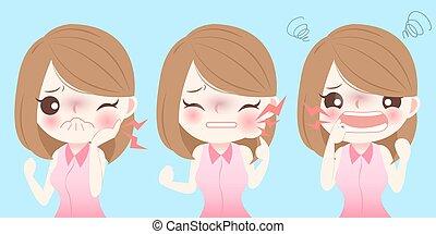 girl, toothache, avoir, dessin animé