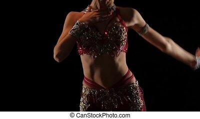 Girl torso traditional oriental belly dancer. Black...