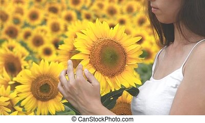 girl touches a hand to yellow sunflowers