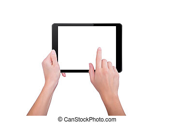 Girl touching a finger to the tablet