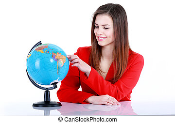 Girl touching a globe. Isolated on white background