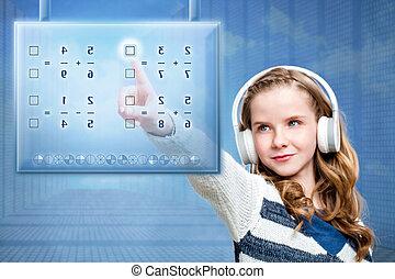 Girl touching futuristic digital screen. - Close up portrait...