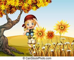 girl, tournesols, télescope, tenue
