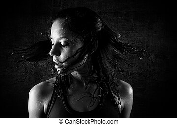girl, transpiration