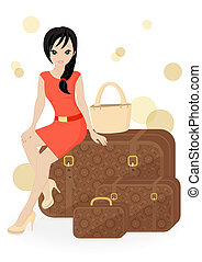 girl traveler sitting on a suitcase isolated on white background