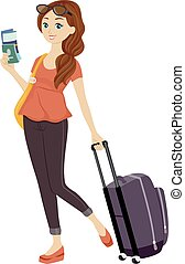 Girl Traveling - Illustration of a Teenage Girl Holding Her...