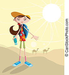 Girl traveling in desert